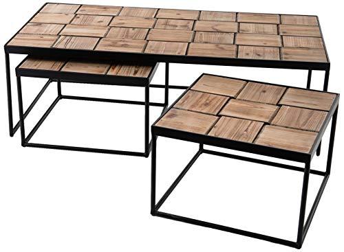 Amadeus Set de 3 Tables Basses en Bois de Bout et métal