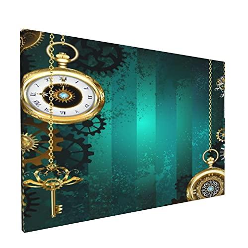 Impresiones de arte de pared,Objetos Industriales, Antiguos Relojes Llaves, Pintura moderna enmarcada óleo sobre lienzo para sala de estar dormitorio principal Decoración 18x12 pulgadas