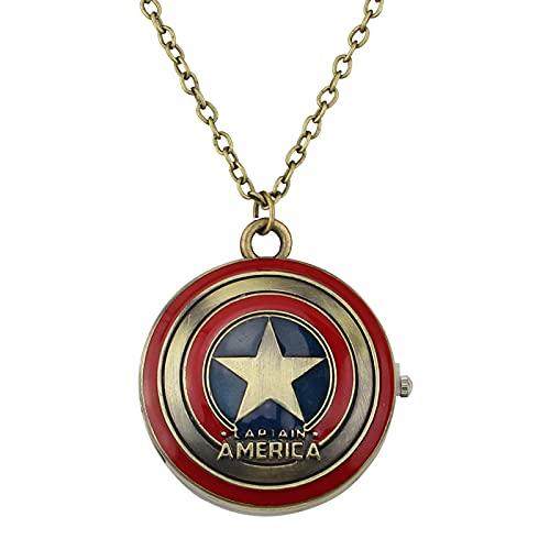 Accesorios De Cine Y Televisión Los Vengadores De Marvel Que Rodean El Reloj De Bolsillo De Aleación De Goteo Con Forma De Escudo Del Capitán América