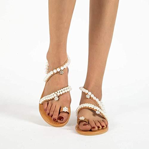 LCCYJ Mujeres con Cuentas Sandalias Planas Bohemia Vintage Toe Ring Gladiator Zapatos Romanos Clip de Mujer Flip Flop Joya Perla Beach Zapatos,01,40