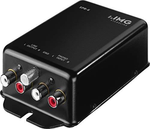 IMG STAGELINE SPR-6 Phono-Entzerrer, Stereo-Vorverstärker für Plattenspieler nach RIAA, in Schwarz
