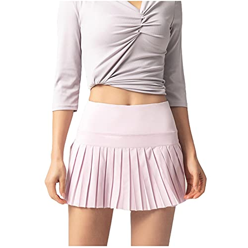 LowProfile Tennis Skorts for Women with Pockets, 2 in 1 Golf Skirts with Shorts Workout Running Yoga Skort Gym Activewear,h1 Pink