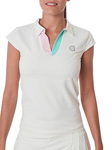 Sport Style Stylo a40grados & Demi Polo Manches pour Femme Blanc Blanc S Blanc