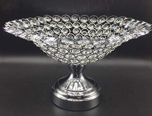 SL candelabro Frutero Decorativo Comedor Arreglo de Frutas de Centro de Mesa de Cuentas Imitacion Cristal, Aluminio Fundido con simil Cristales facetas, decoración de Mesa 32cm