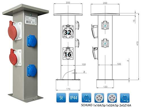 Baustromverteiler Steckdosensäule 1 x CEE32A + 1 x CEE16A + 2 x 230V Außen-Gartensteckdose IP44