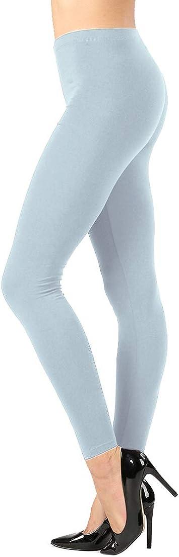NioBe Clothing Womens High Waist Basic Solid Cotton Full Ankle Length Leggings