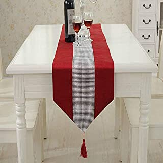 BIT.FLY - Camino de mesa (33x180cm) y 4manteles individuales (30,5x40,6cm), diseño clásico con borlas, ideal para d...
