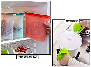 FAMEWORLD® Reusable Silicone Food Storage Bag for Kitchen and Refrigerator-(2 Pack) Free Pot Holder