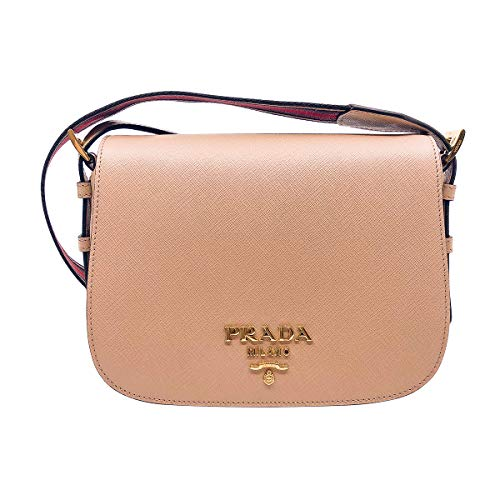 Luxurious Saffiano Prada cross body bag with beautiful wide web striped multi color shoulder strap. It has beige finely textured leather with gold-toned PRADA Milano logo and hardware. This versatile bag will take you from day to evening with effortl...