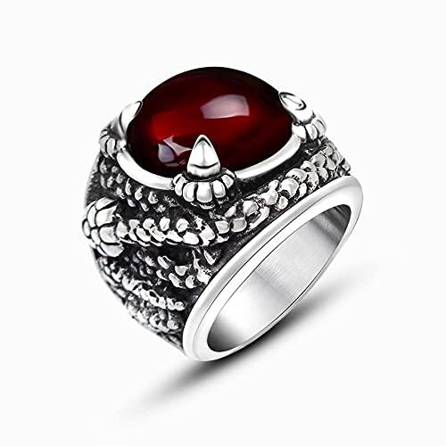 LINYIN Dominante Incrustaciones de Color Rojo y Negro Anillo de Piedras Preciosas Anillo de Personalidad de los Hombres Europeo y Americano Retro Red Beauty 12