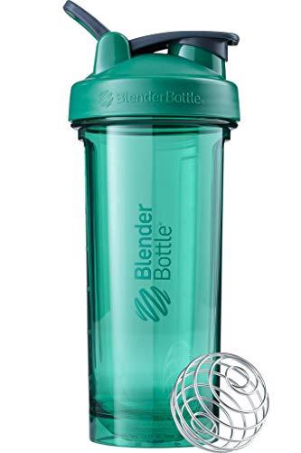 BlenderBottle Pro28 Tritan Trinkflasche mit BlenderBall, optimal geeignet als Eiweiß Shaker, Protein Shaker, Wasserflasche, BPA frei, skaliert bis 600 ml, Fassungsvermögen 820 ml, emerald grün