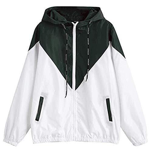 Señoras De Manga Larga Casual Patchwork Sportwear Windbreaker Modernas Casual Outwear Abrigo con Capucha Moda 2020 Ropa De Mujer (Color : Armeegrün, One Size : L)