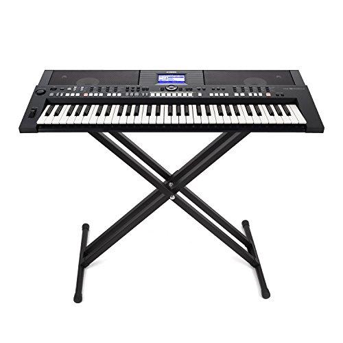 FEMOR Set di Supporto per Tastiera a Livello Singolo, ad X Regolabile e Panchetta per Tastiera per Pianoforte (supporto)