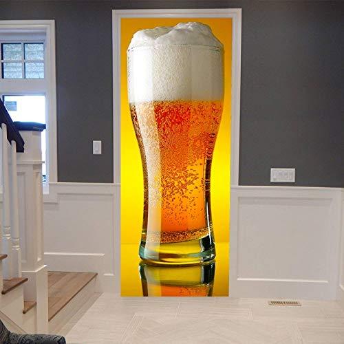 ADYNL Etiqueta De Puerta Autoadhesiva 3D Vaso De Cerveza Creativo Habitaciones De Vinilo Etiqueta De La Puerta Papel Tapiz Murales Pegatinas Carteles Pegatinas De Pared DIY Decoraciones 77X200Cm