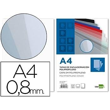 Liderpapel TE16 - Pack de 50 tapas de encuadernación, color transparente, A4, 0.8 mm: Amazon.es: Oficina y papelería