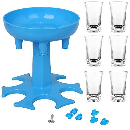Speyang Schnapsglasspender 6 Wege, mit 6 Shotgläser, Spender zum Befüllen von Flüssigkeiten, Schnapsglasspender und Halter, Schussspender, Carrier Caddy Liquor Dispenser Geschenke Trinkspiele (Blau)