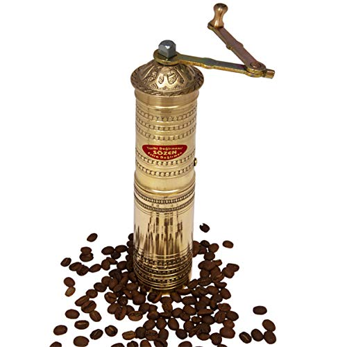 """9"""" Handmade Hand Crafted Hammered Manual Brass Coffee Mill Grinder Sozen, Portable Conical Burr Coffee Mill, Portable Hand Crank Coffee Grinder, Turkish Coffee Grinder"""