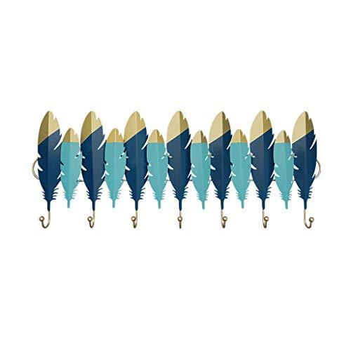 OH Ganchos de la Pared Ganchos Abrigo de Perchero Moderno Pared Colgante Abrigo Pórtico Creativo Pared Colgando Perchero con 7 Ganchos Decoración de Pared de Metal Retro/Azul / 90