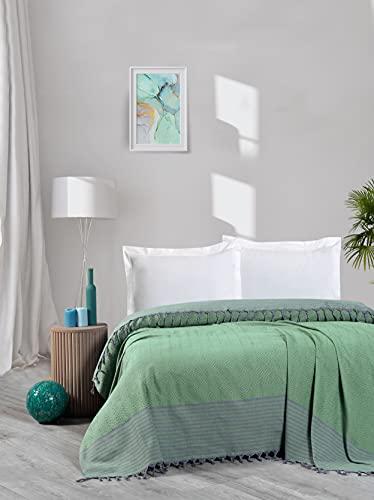 Bett abdeckungen, Tagesdecken Baumwolle Sommer Gemütliche Decken 100prozent Handwoven Türkische Wirft für Sofa,Schlafzimmer,Strand,Picknick,bettdecke mit Quasten, 200x250 cm (Grün)