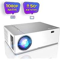 """Proyector Full HD 1080p Nativo 6800 Lúmenes BOMAKER, 4D Corrección Digital de ± 50 °, Zoom de -50%, Contraste 9000:1, Pantalla de 300"""", Cine en casa/Presentación Comercial, Parrot I"""