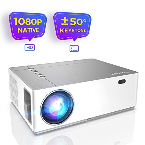 Beamer 6800 Lumen Full HD Native 1080p BOMAKER LED Videoprojektor 300 inch Display Zoom ±50°Elektronische Korrektur Dolby unterstützt mit Dual HDMI USB Anschlüsse für Heimkino&Geschäftspräsentation