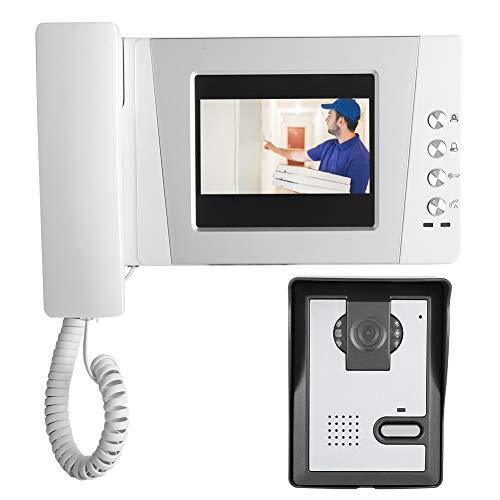 Sistema de videoportero, 4.3in HD Pantalla colorida Apartamento con cable Video Audio Intercomunicador de visión nocturna Timbre con control de acceso Sistema de desbloqueo(Enchufe de la UE)