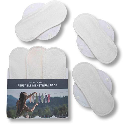 Compresas de tela reutilizables, pack de 6 compresas ecologicas de bambú puro con alas (de tamaños S y M) HECHAS EN LA UE, para menstruación, incontinencia; compresas lavables organico para mujer