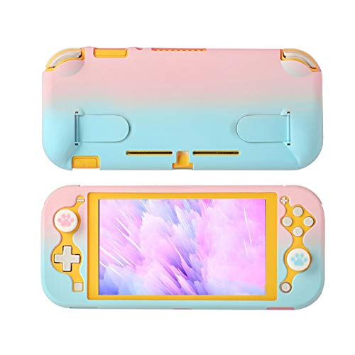 Protective Case Compatible with Nintendo Switch Lite, Hard Clear Case for Nintendo Switch Lite with Stand - PinkBlue