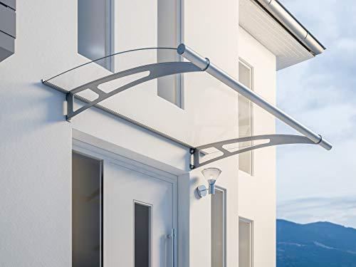 Schulte Vordach Überdachung Haustürvordach XL 205x142 cm Acrylglas klar Edelstahl matt Pultbogenvordach