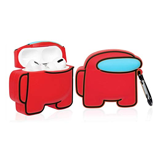 RouHeFeng ケース for AirPods Pro 3 Case Among, キャラクター設計 おかしい かわいい kawaii Us おしゃれお もしろい Air Pods第三世代 シリコンカバー ファッション 落下防止 女性女の子男の子 ケースイヤーチップ for AirPod Pro (Red)