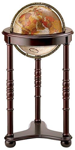 "Replogle Lancaster—Bronze Metallic, Dark Cherry Wood Finish, Floor Model Globe, Perfect for Anyone Looking for a Elegant Floor Standing Globe That Fits Small Spaces (12""/30 cm diameter)"