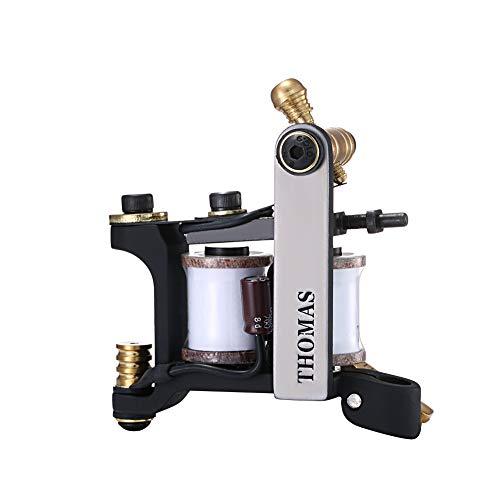 Mummy Máquina de tatuaje de bobina hecha a mano, marco de hierro, 8 bobinas de envoltura