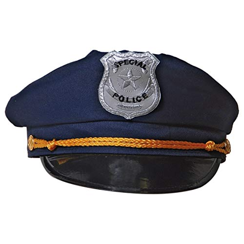 Déguisement Police Hat – Bleu avec Badge et Bande Or