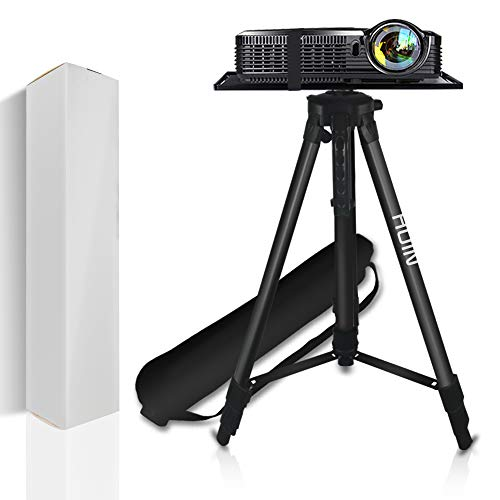 Projector Stand, Laptop Stand, Aluminum Multi-Function Tripod Stand with Tray Adjustable Tripod Laptop Projector Stand, 20' to 55' Universal Device Stand Perfect for Stage or Studio Use