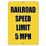 Inga Señal de Advertencia de tráfico de 5 mph con límite de Velocidad de tránsito Railroad de 8 x 12 Pulgadas