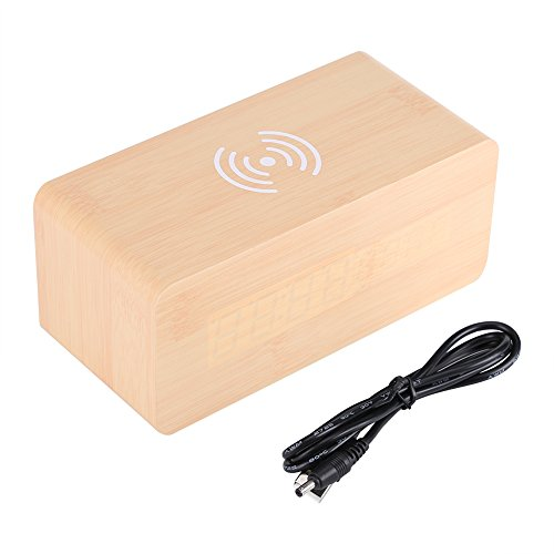 Wekker, desktop wekker hout LED Digital Wireless Charger klok stembediening temperatuur draadloze oplader voor telefoon (houtkleur)