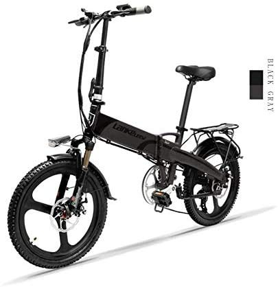 LANKELEISI G660 20-inch Foldable Electric Bike 48V / 240W 12.8Ah Lithium Battery 7 Speed Electric Bike 5 Speed Adult Male and Female Mini Mountain Bike with Anti-theft Device (Grey)