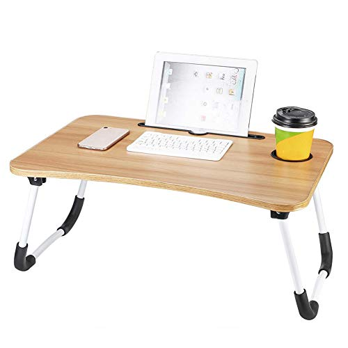 Folding Laptop Table with Slot Hole Computer Table College Student Dormitory for Bed Sofa Study Desk Bed Table(60 * 40 * 28cm)