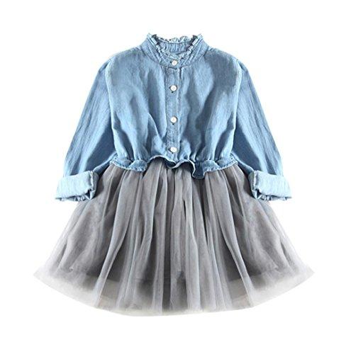 Tutu Kleid Kleinkind Kinder, DoraMe Baby Mädchen Denim Kleid Langarm Prinzessin Kleid Cowboy Kleidung Mesh Patchwork Mini Kleid für 2-7 Jahr (Hellblau, 4 Jahr)