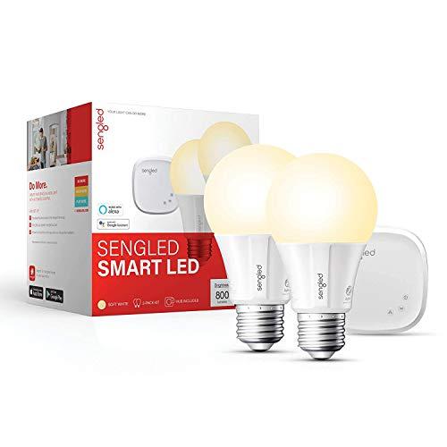 Sengled Smart light Bulb Starter Kit, Work with Alexa & Google Home, Support 2.4G&5G, A19 Alexa Light Bulbs, Smart LED Soft White Light, 9W, 2 Smart Bulbs & 1 Smart Hub (Package May Vary)