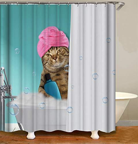 ZZZdz kat onder de douche in de badkuip. Waterdicht. Eenvoudig over te dragen. 12 vrije haken. 3D-HD-druk. verbleekt niet. Douchegordijn 180 x 180 cm.