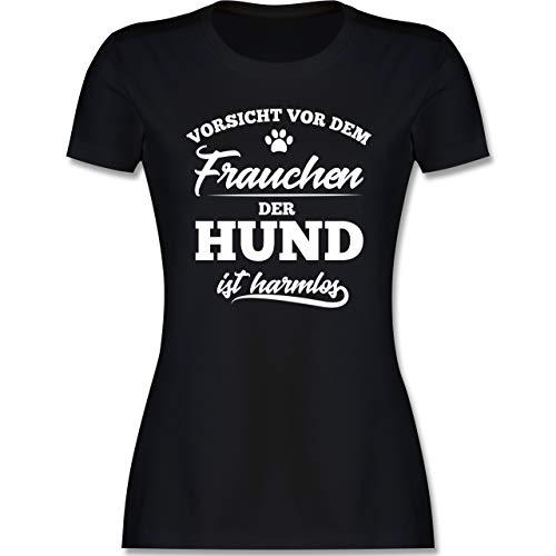 Geschenk für Hundebesitzer - Vorsicht vor dem Frauchen der Hund ist harmlos - M - Schwarz - Tshirt Spruch Damen Hund - L191 - Tailliertes Tshirt für Damen und Frauen T-Shirt