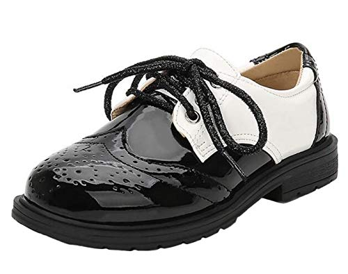 DADAWEN Boy's Lace-Up Brogues Oxford Dress Shoes White 9 UK Chil