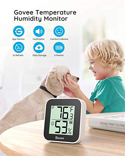 Bundle-3 Items: Govee Temperature Humidity Sensor 3 Pack, Mini Bluetooth Hygrometer Thermometer with App Alert & Data Storage, Indoor Digital Thermometer Hygrometer with Data Export