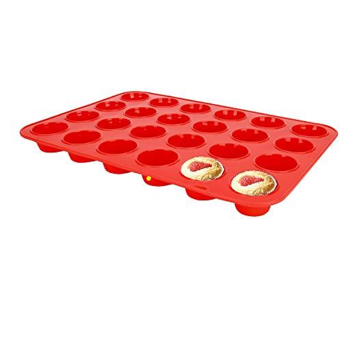 SUPER KITCHEN Mini Muffinform aus Silikon für 24 Muffins, Antihaft Muffinblech Antihaftbeschichtet Backblech Backform für Mini Cupcakes, Brownies, Kuchen, Pudding, 34 x 23 x 2,5 cm (Rot)