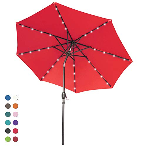 ABCCANOPY 9FT Patio Umbrella Ourdoor Solar Umbrella LED Umbrellas with 32LED Lights, Tilt and Crank Table Umbrellas for Garden, Deck, Backyard and Pool,12+Colors, (Red)