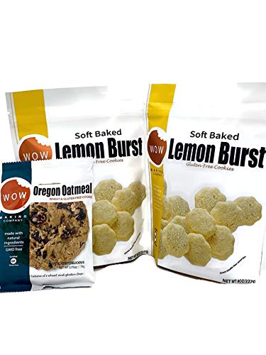 Wow Baking Company Cookie Bundle - 2 - 8oz. Bags of Cookies and 1 Big 2.75oz. Cookie - All Gluten Free - Natural Ingredients (Lemon 2 Bags & 1 Big Oatmeal)