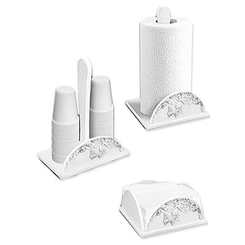 Set 3 pezzi Porta Bicchieri, Porta Tovaglioli e Porta Rotolo in legno white BUTTERFLY