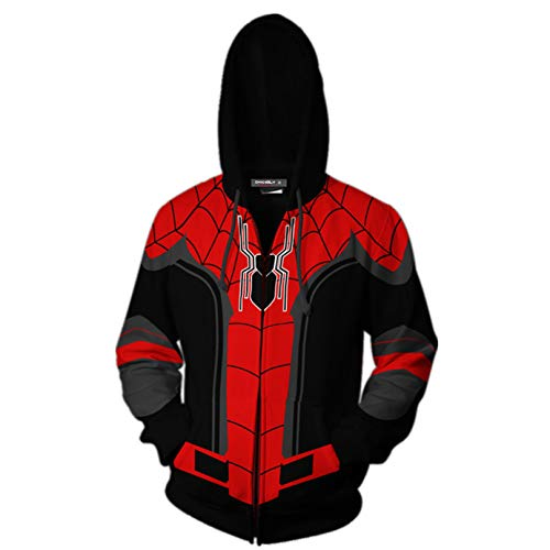 MODRYER Superheld Kinder Anzug Spiderman Far from Home Pullover 3D Printed ReißverschlussHoodie Hoodys Cosplay Herbst-Winter-Jacke,Black-Medium
