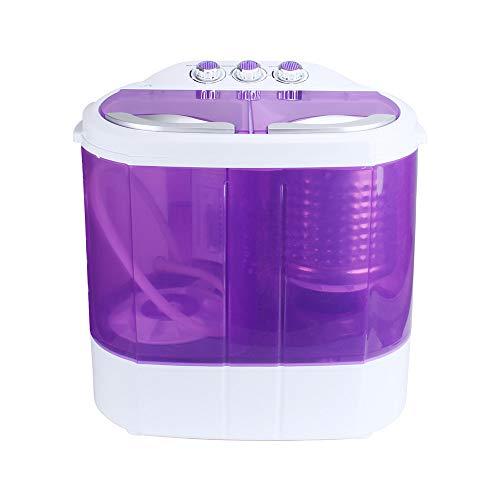Dawoo 220 V tragbare Waschmaschine, Mini-Waschmaschine, transparente Doppelzylinder-Waschmaschine (lila)